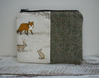 Harris Tweed Handmade Makeup Cosmetic Bag Purse, Womens / Ladies Gift Fox Hare Rabbit - Edit Listing - Etsy