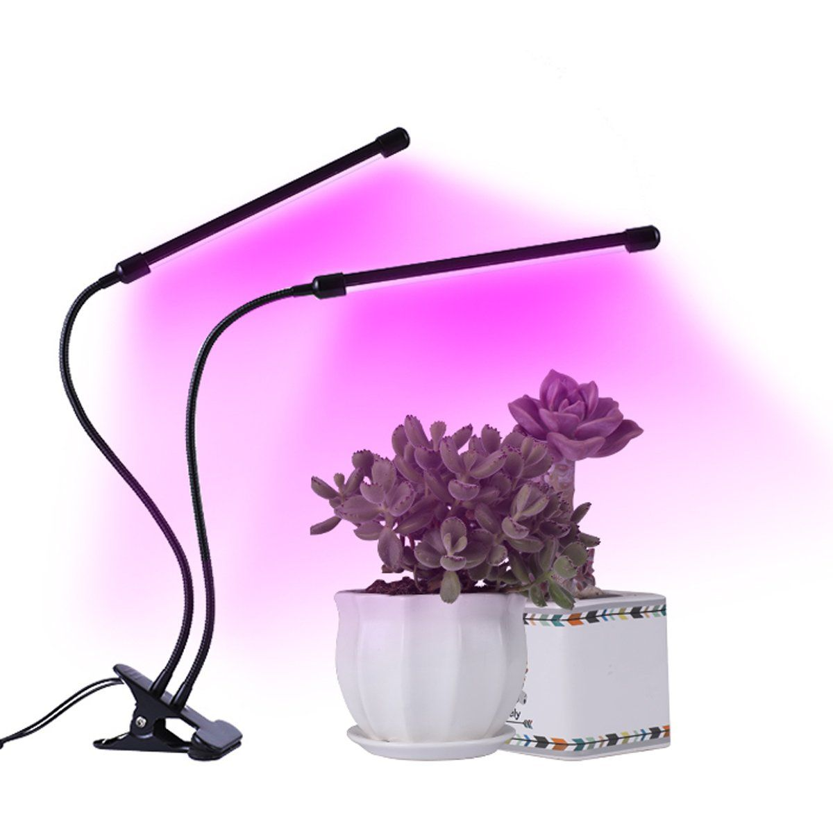 Clovertale Timing Function Dual Head Grow Light 18w Dual Head 360a Flexible Indoor Led Plant Grow Lamp With Adjust Hydroponic Gardening Grow Lamps Hydroponics