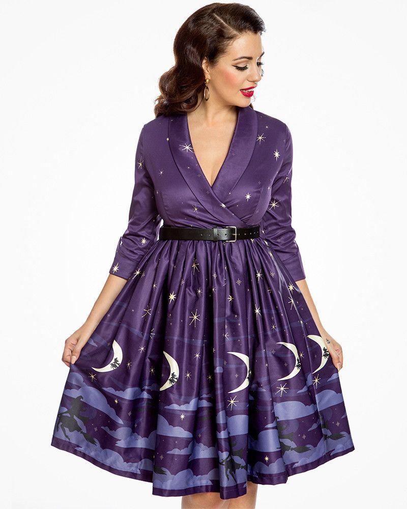 524e420b9c8 Vivi  Witching Hour Print Swing Dress