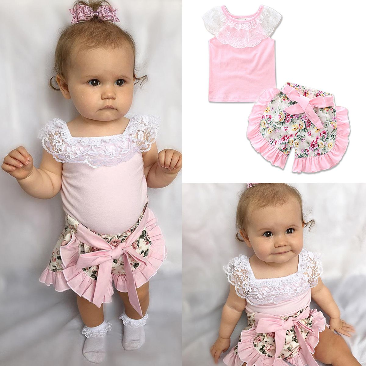 0-3T Toddler Kids Baby Girls Top Shorts Headband Clothing Suits Cute Floral Print Shirts Bow Lace Pants Outfits Sets
