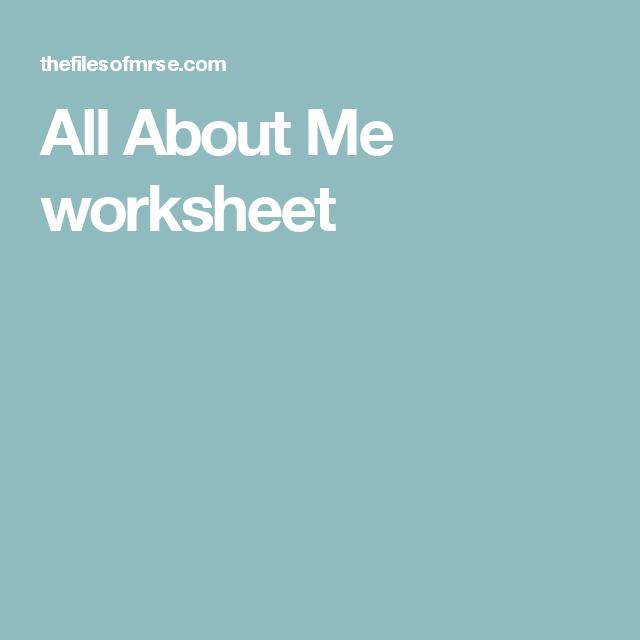 All About Me Worksheet Preschool Pinterest Worksheets