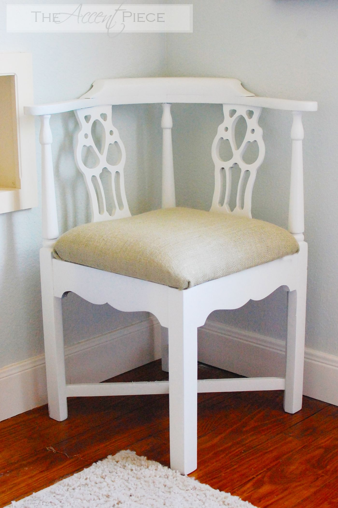 Antique White Painted Wooden Corner Chair Design Feature Backrest In Carved  And Also Brown Cushion Seat Plus White Wooden Cross Footrest Chair
