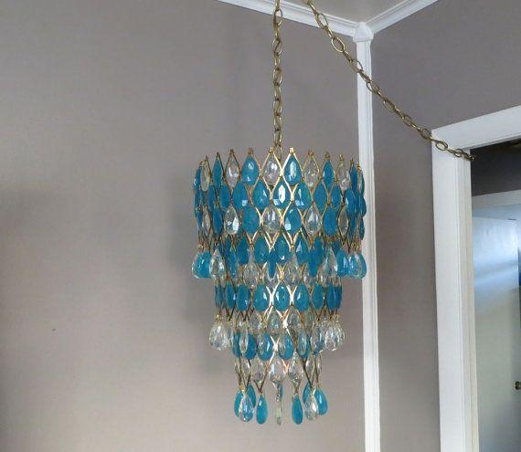 Hanging Light Hanging Lamp Hollywood Regency Light Mid Century Light Vintage Chandelier Turquoise Chandelier
