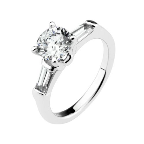 This elegant engagement ring is made of sterling silver and plated with platinum. The stone is round cut cubic zirconia and set in a solitaire setting. Stone weight measures approximately 1.5 carats.