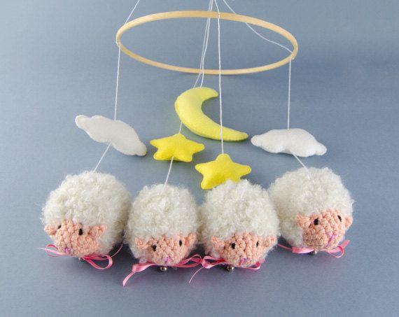 Amigurumi Sheep Baby Mobile : New sweet dreams sheeps mobile baby mobile by oneandtwooriginals