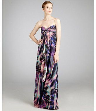 Nicole Miller purple printed silk strapless gown - ShopStyle ...