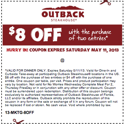 picture relating to Outback Coupons $10 Off Printable named Outback Steakhouse: $8 off Printable Coupon Cafe