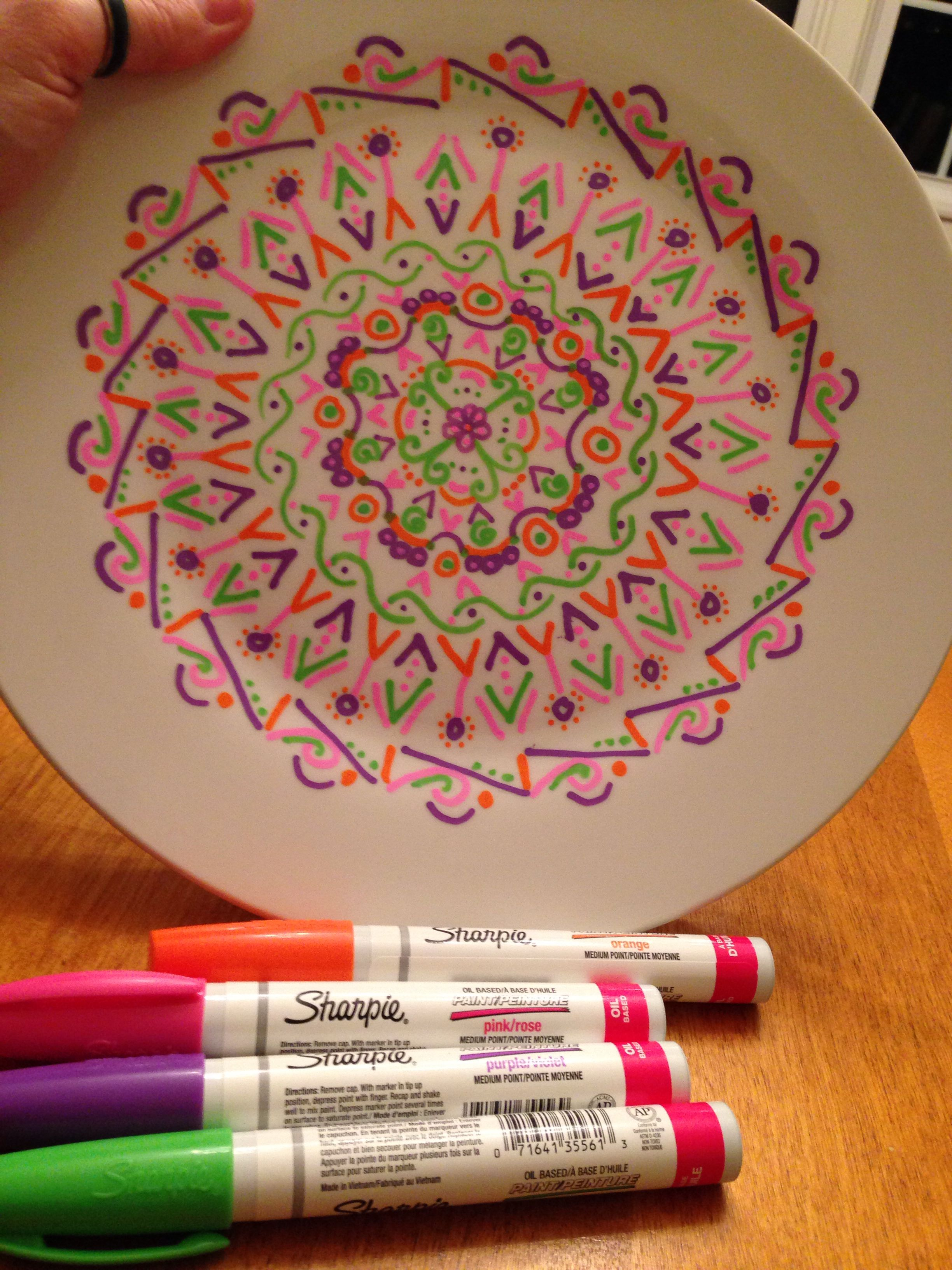 Oil Based Sharpies On Ceramic Plate Sharpie On Ceramic