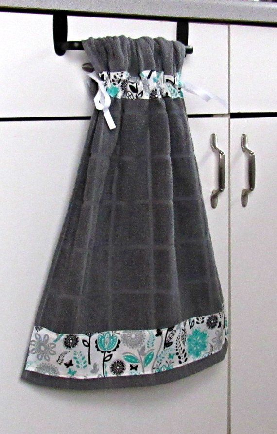 Tie Top Towels Dark Gray Cotton Kitchen Towels Accented With Black