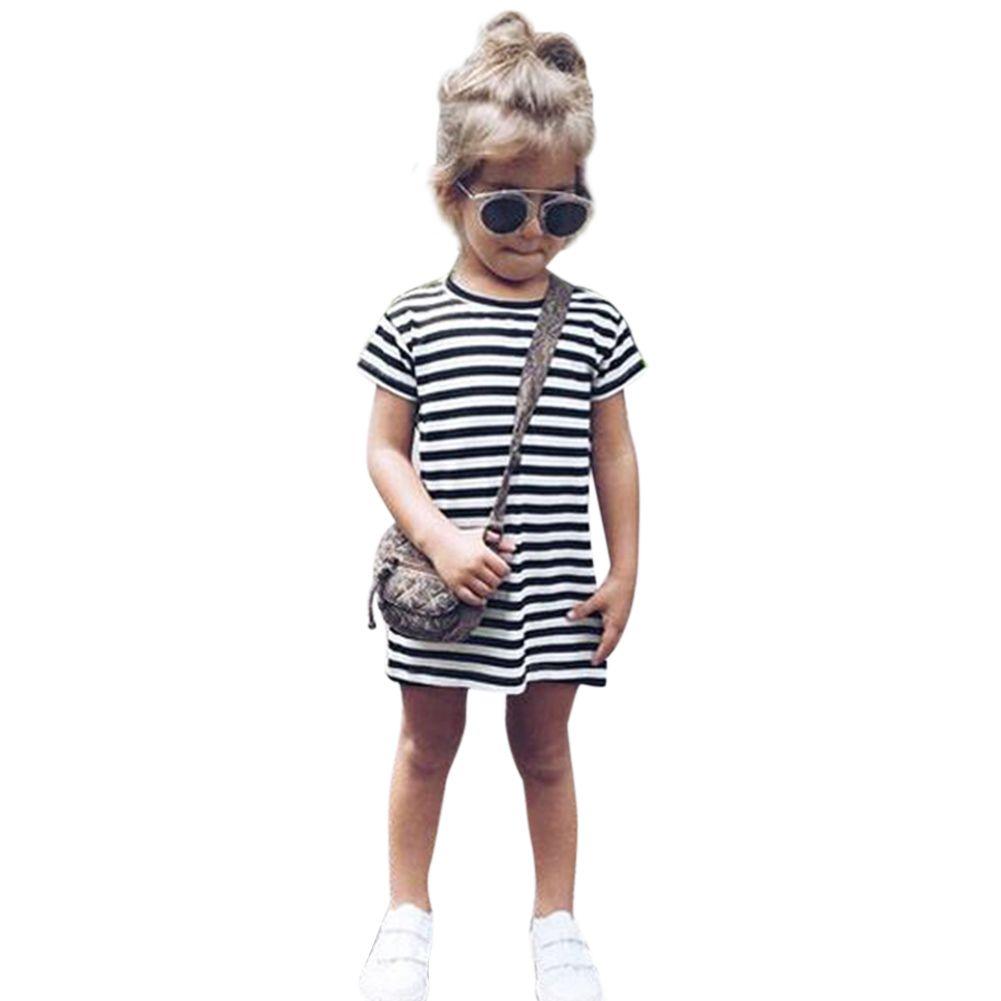 116711b11 Children Girls Striped Short Sleeve Cotton Summer Casual Round ...