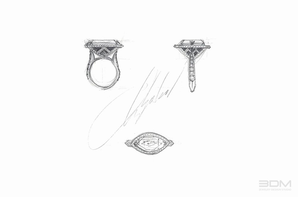 3DM Jewelry Design Studio created exclusive design sketches for line of unique diamond engagement rings and mounting designs