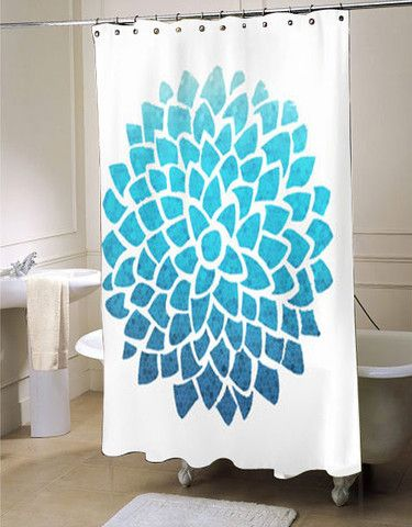 Blue Dahlia Shower Curtain Customized Design For Home Decor With