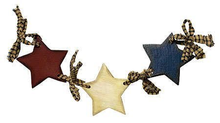 Primitive Americana Wood Star Garland
