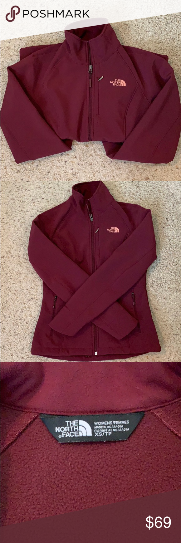 Euc The North Face Apex Jacket Xs Burgundy Euc The North Face Apex Jacket Women S Size Xs Burgundy Soft Shell Rain R Jackets For Women Jackets The North Face [ 1740 x 580 Pixel ]