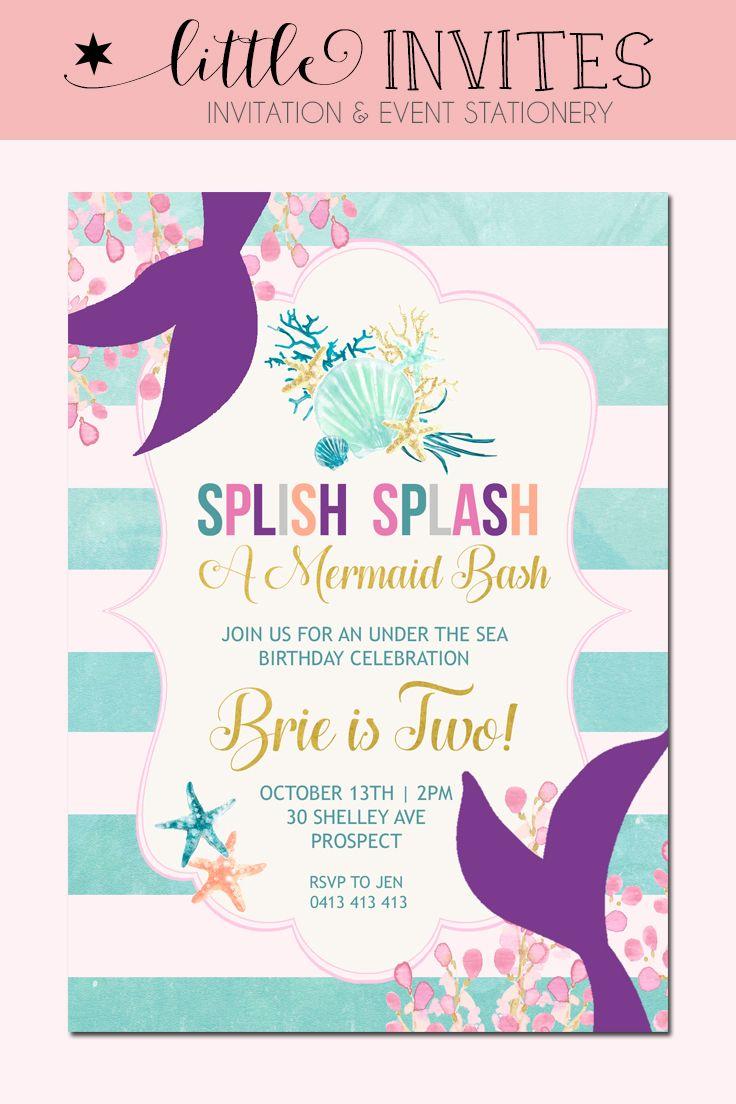 Mermaid birthday invitation under the sea birthday invitation by