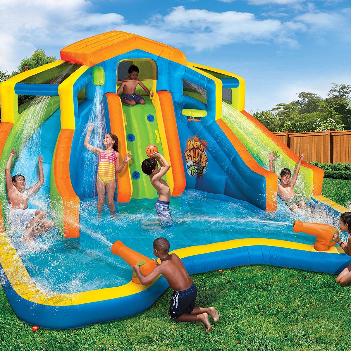 Inflatable Slide Splash: Banzai Inflatable Adventure Club Dual Slide And Pool