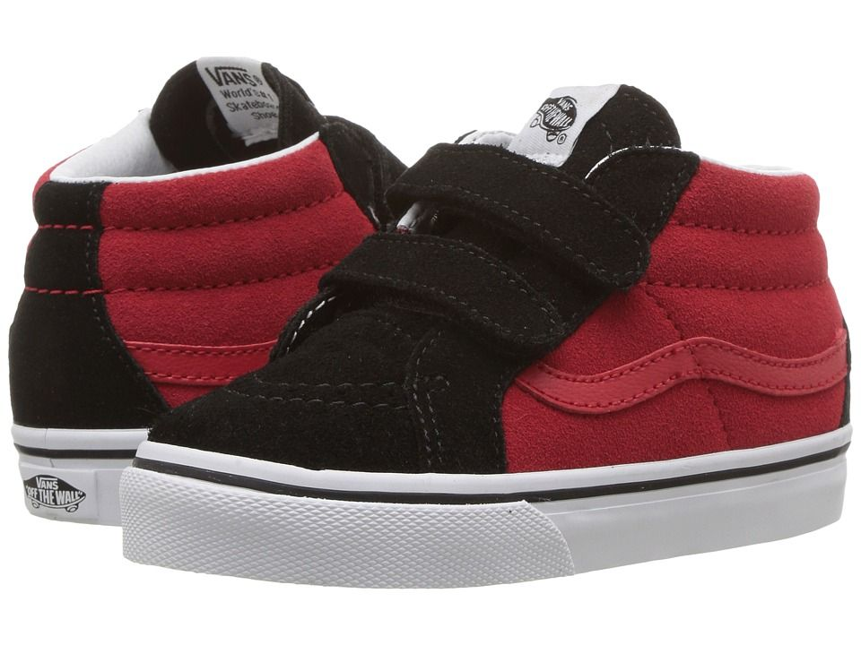 94b889b951834a Vans Kids Sk8-Mid Reissue V (Toddler) Boys Shoes (Two-Tone) Black Racing Red