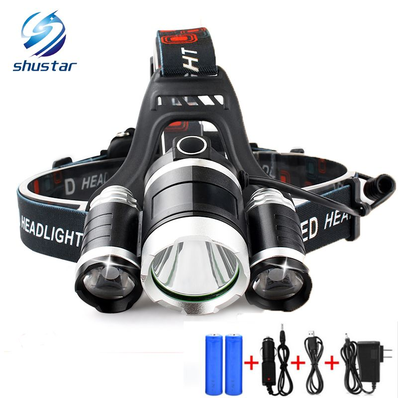 Shustar Cree 3pcs Xm L T6 Led Headlamp Headlight 10000 Lumens Led Head Lamp Camp Hike Emergency Light Fishing Outdoor Headlamp Waterproof Headlamp Led Headlamp