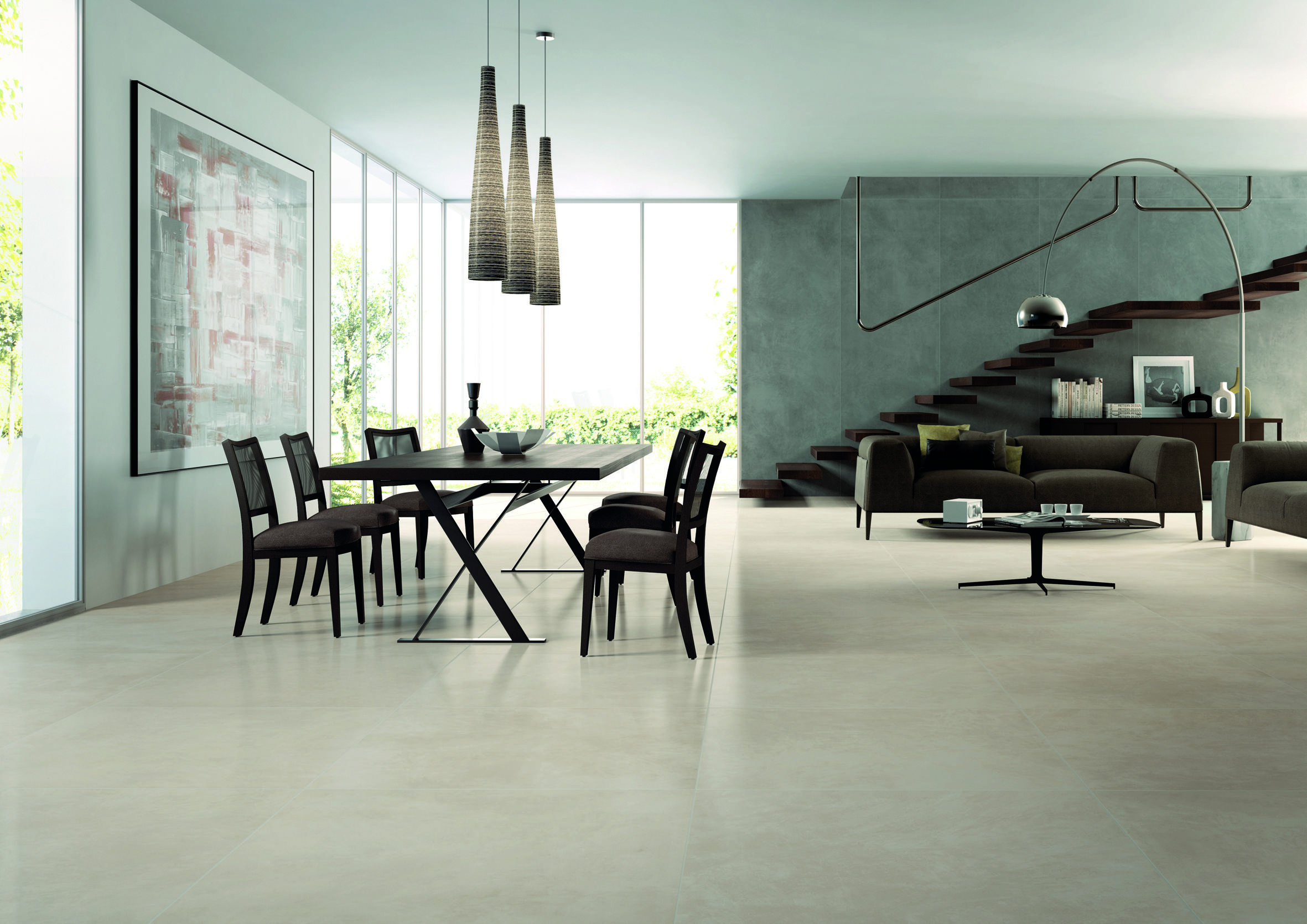 Light toned polished concrete look floor Pavimenti
