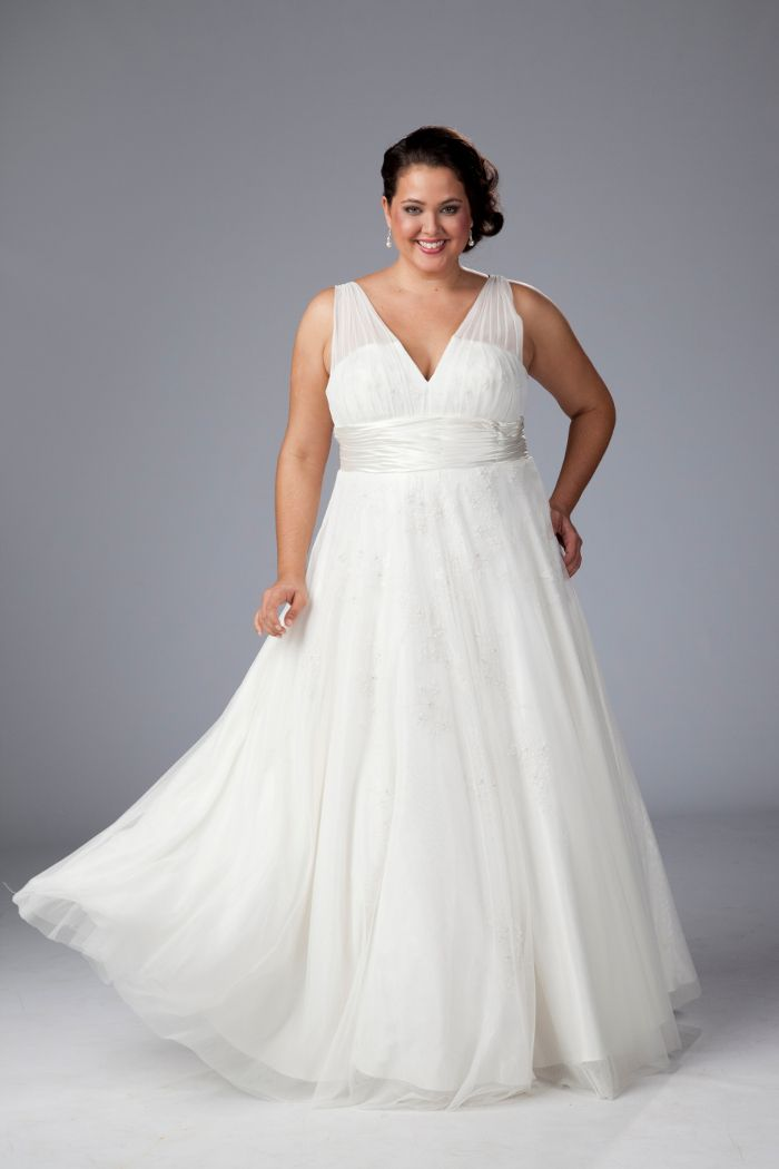 V neck plus size wedding dress plus size wedding gown for Empire waist plus size wedding dress