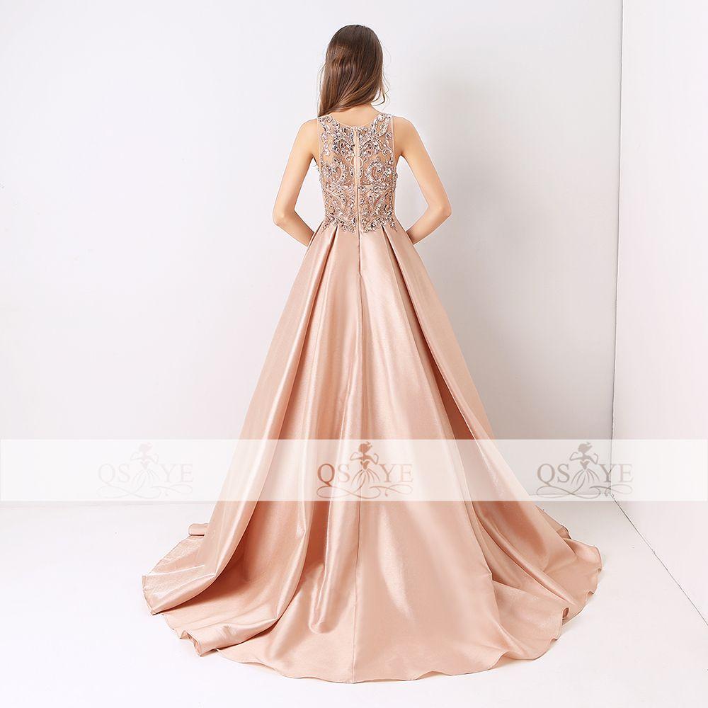 Qsyye new arrival long prom dresses luxury beaded top tank