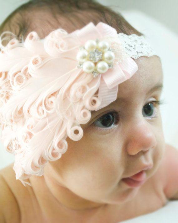 Baby Flower Headband Flower Headband White Headband Baby Girl Headband Baby Girl Newborn Headband Little Girl Headband Shabby Chic