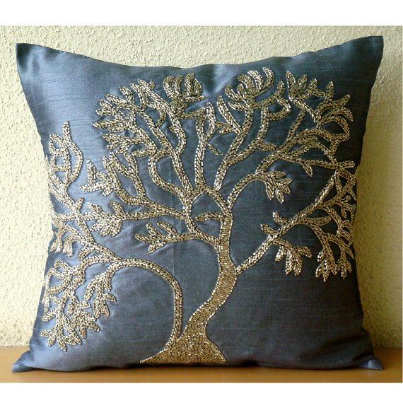 Handmade Beaded Tree Decorative Pillows Cover Blue Pillows Cover