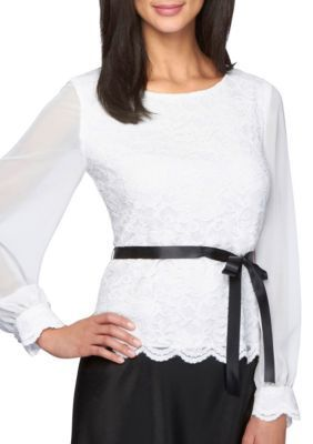 Alex Evenings Women's Embroidered Mesh Blouse -  - No Size