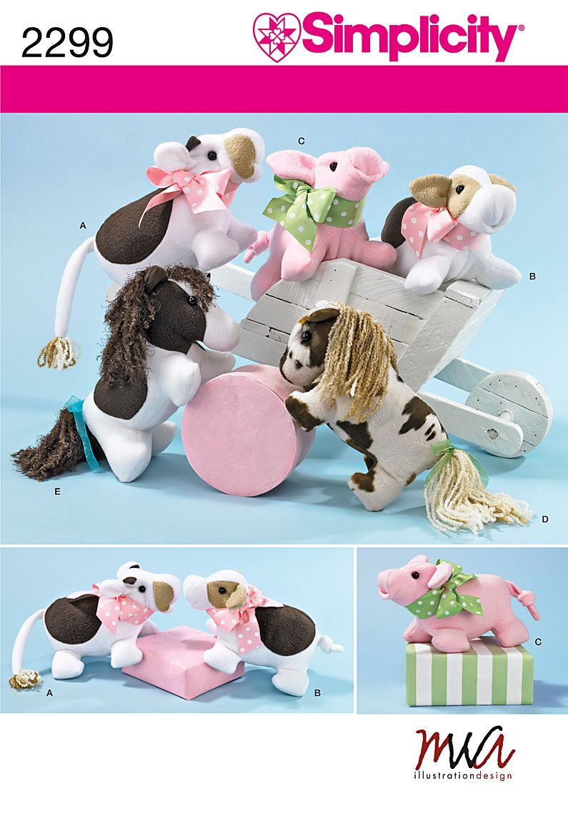 Cow bull pig and horse stuffed animals sewing pattern 2299 cow bull pig and horse stuffed animals sewing pattern 2299 simplicity to make pinterest animal sewing patterns sewing patterns and patterns jeuxipadfo Images