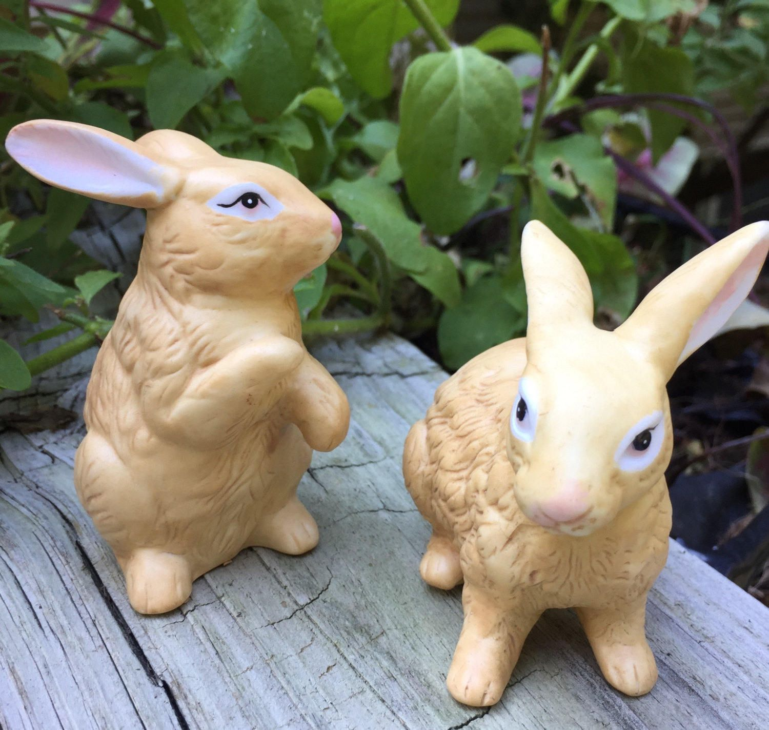 CIJ Rabbit Figurines Set of 2 Mid Century Vintage by TreasureofMemories on Etsy