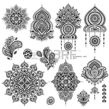 Lotus Flower Tattoo Designs Vector Set Of Indian Floral Paisley