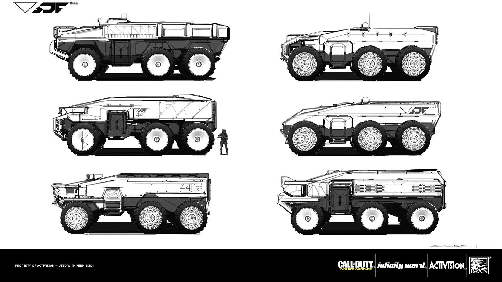 Call Of Duty: Infinite Warfare SDF APC Sketches, Benjamin Last on ArtStation at https://www.artstation.com/artwork/21rkg