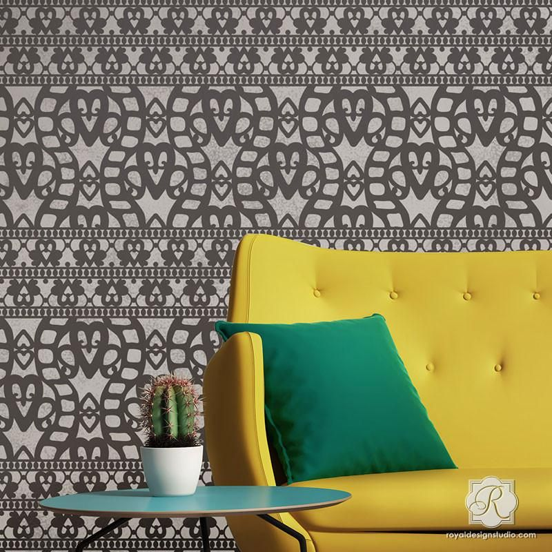 Cayman Lace Wall Stencil | Wall stenciling, Stenciling and Walls
