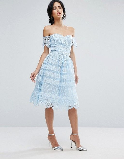 601d0035f7c5 Chi Chi London Off Shoulder Light BLUE Midi Dress In Paneled Lace