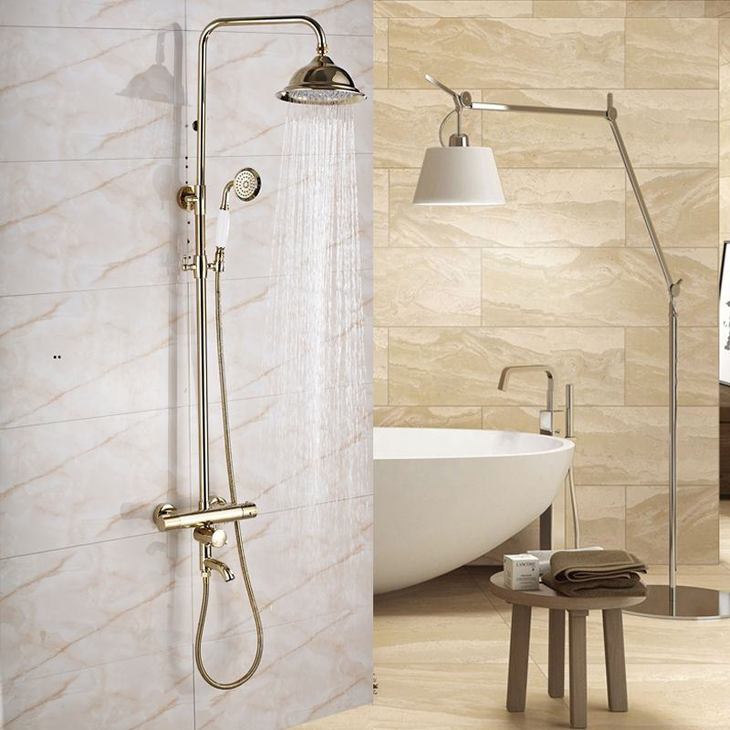 187 68 Buy Golden Dual Handle Bath Shower Set With Thermostatic