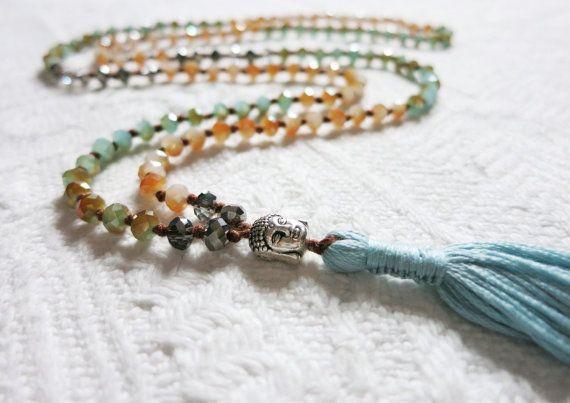 Long Boho Beaded Necklace  Teal Blue/Orange Mix di SukiFashionista