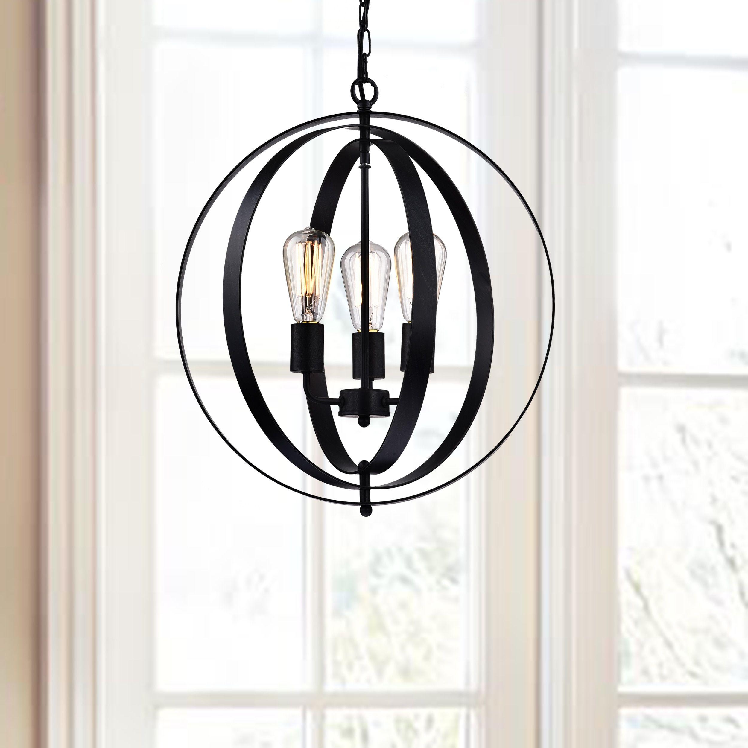 Benita Antique Black 3 light Concentric Mixed Iron Rings Orb