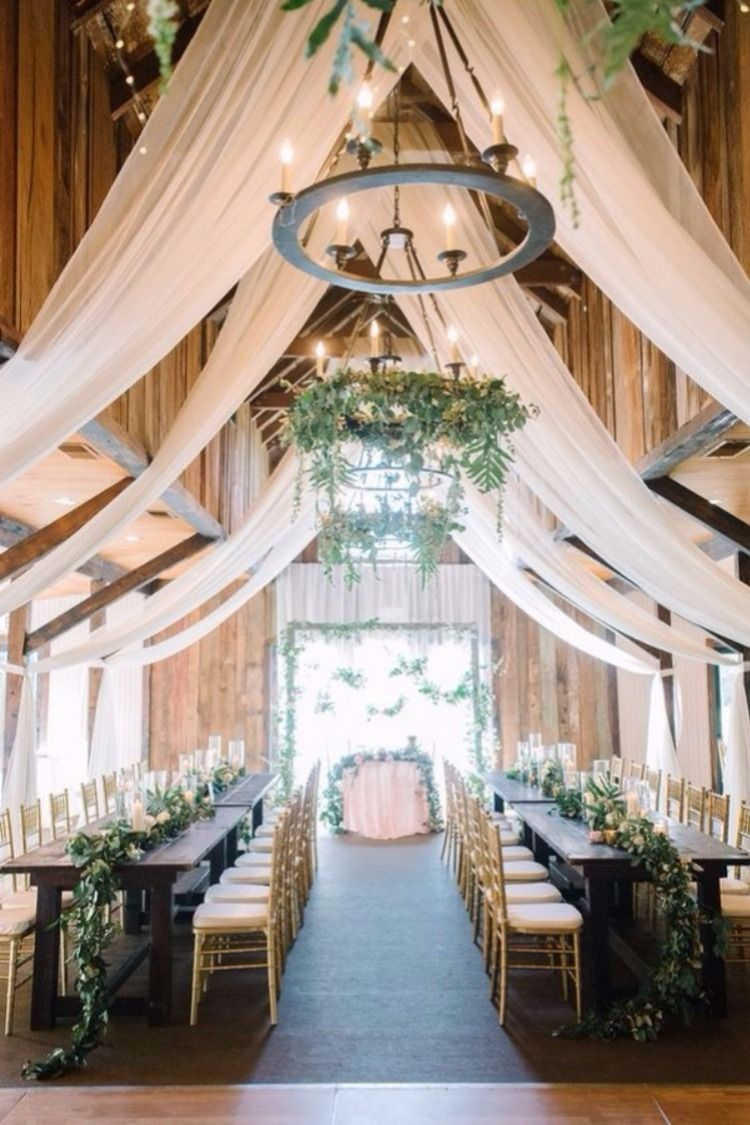 Indoor barn wedding decor ideas country also romantic with lights rh pinterest