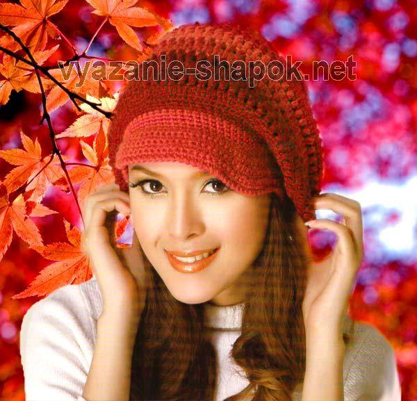 шапка крючком с козырьком осенний клен вязание шапок женские