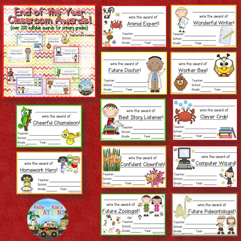 End Of The Year Classroom Awards Over 200 Editable Awards For