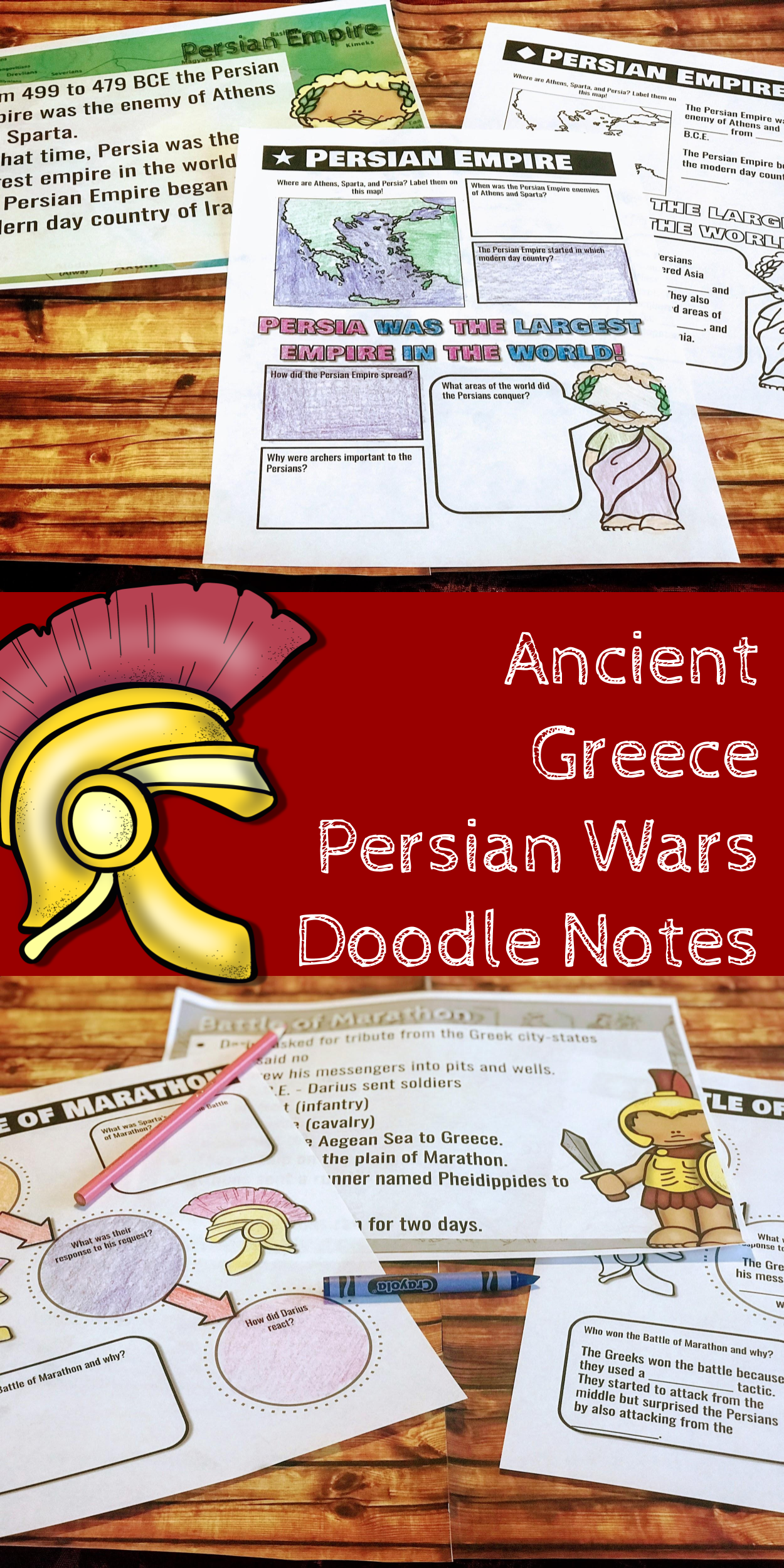 Ancient Greece Persian War Doodle Notes