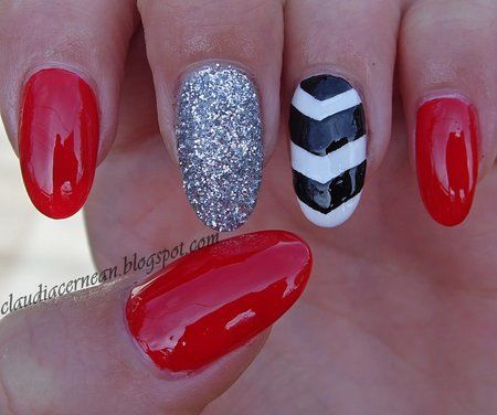 Chevron Nails in red, white and glitter #nailart #polish #prettymani - See more #naillooks at bellashoot.com  share your faves!