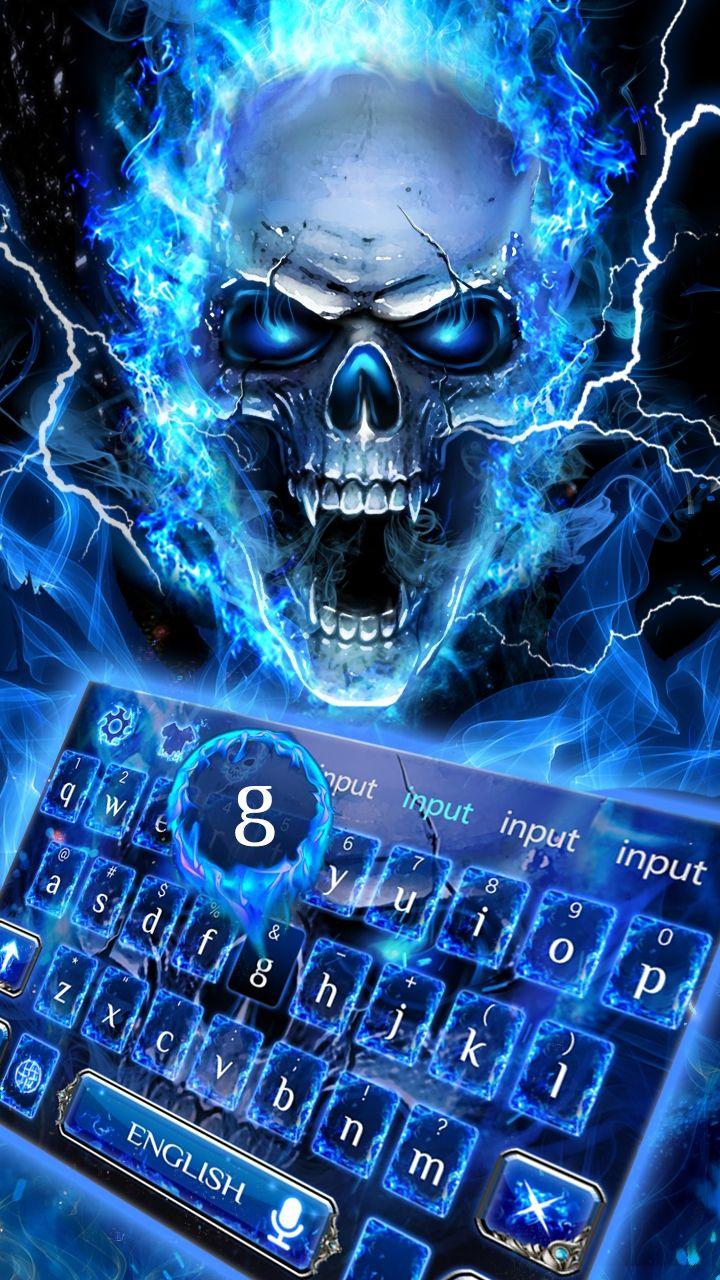 Android keyboard, blue fire skull! flaming skull