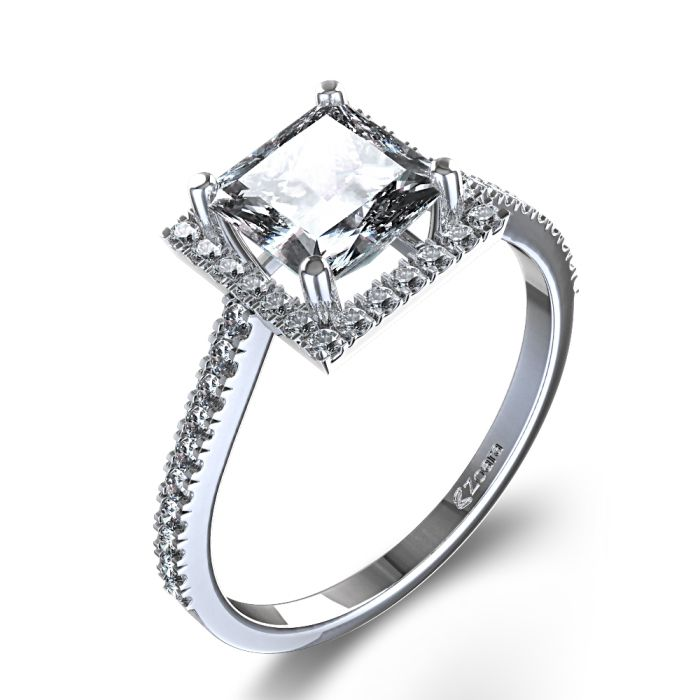 Trendy diamond engagement rings Stylish Halo Princess Cut Diamond Engagement Ring in Palladium