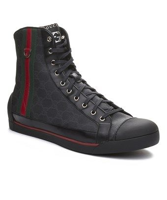 cf03af49f15 GUCCI GUCCI MEN S COATED CANVAS LEATHER HIGH TOP SNEAKER SHOES BLACK.  gucci   shoes