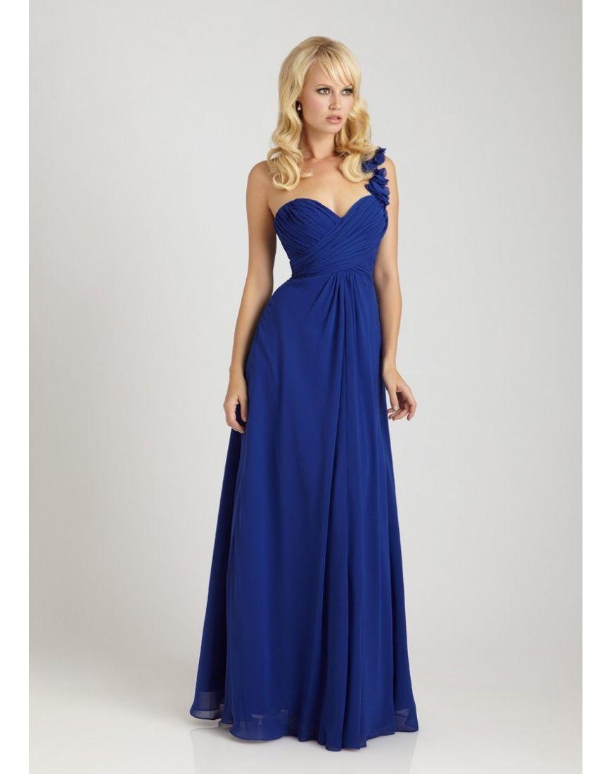 Gefaltetes, bodenlanges Chifon Brautjungfernkleid | dresses ...