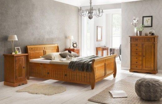 Bett Gotland braun Pinie massiv Holz Moebel Schlafzimmer - schlafzimmer holz massiv