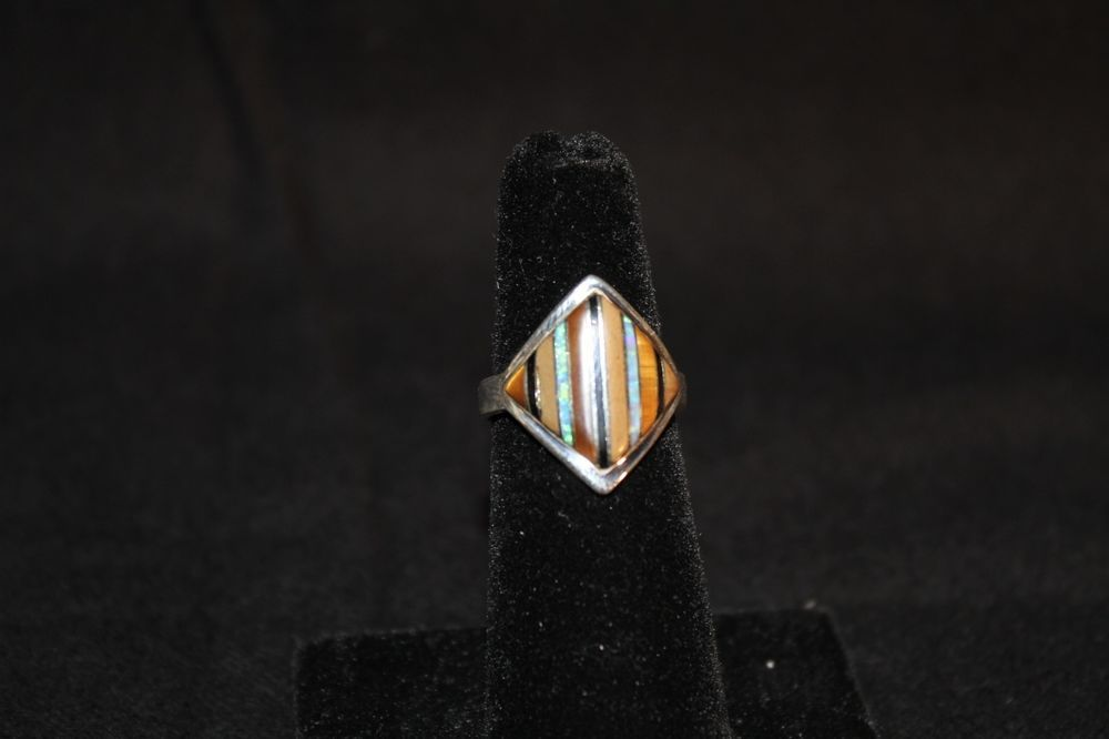 Southwest Sterling Silver Multicolor Inlay Ring Size 5-3/4