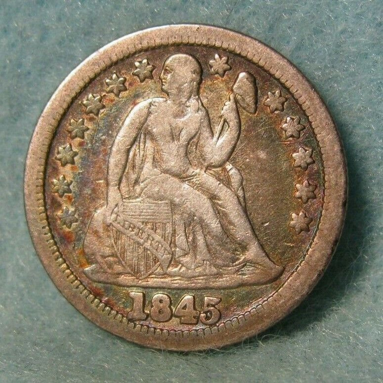 1845 Seated Liberty Silver Dime Better Grade United States Coin Silver Dimes Coins Silver