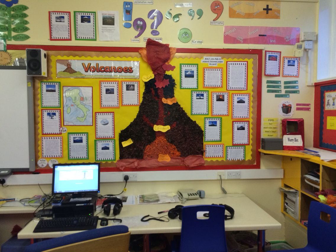 Classroom Ideas Uk : Volcano display board elementary science ideas